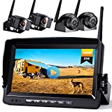 Xroose Backup Camera Wireless W/Touch Key DVR 7' FHD Monitor for Truck RV Trailer Rear Side View Reversing 4 Back Up Camera W/Built-in Recorder Monitor Stable Signal System, CW4