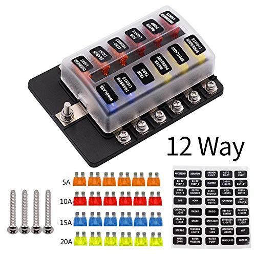 12 maneras 12V 24V Hoja de fusibles cuadro titular con LED luz de advertencia kit for el coche marina del barco Trike