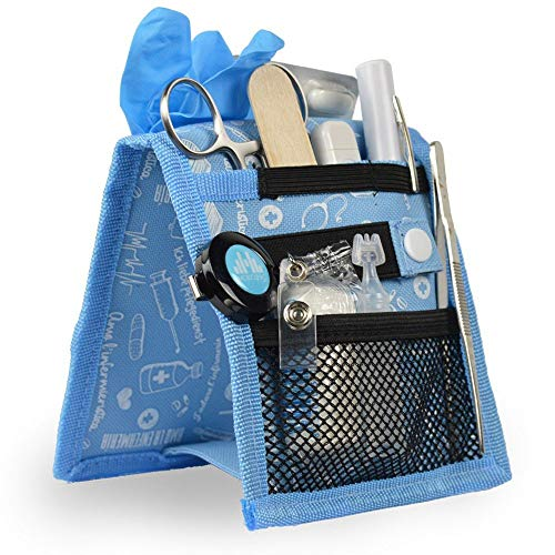 Organizador auxiliar de enfermería, Keen's, Mobiclinic, Para bata o pijama, Diseño exclusivo con estampados en color azul, Amo la enfermería