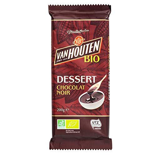 Van Houten - Tablette de Chocolat Dessert Bio Noir - Certifiée Agriculture Biologique et UTZ - Idéale pour Tous vos Desserts - 1 Tablette de 200g