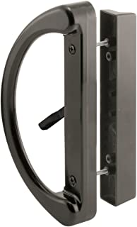 "Prime-Line C 1224 Sliding Patio Door Handle Set - Replace Old or Damaged Door Handles Quickly and Easily – Black Diecast, Mortise Style, Non-Keyed (Fits 3-15/16"" Hole Spacing)"