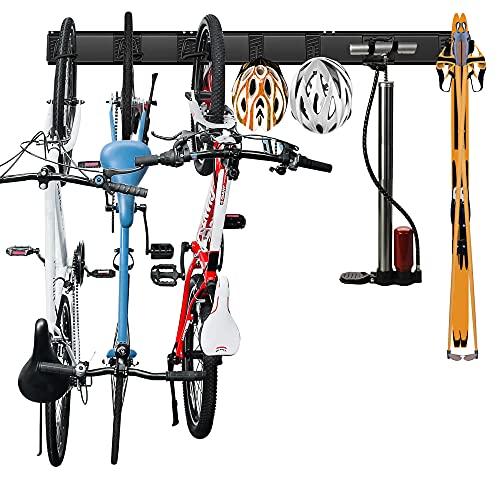 Wallmaster Bike Rack Wall Mount, Bike Storage Rack Indoor Bike Storage Bike Hangers Hooks Garage Storage (7 Hooks and 3 Rails)