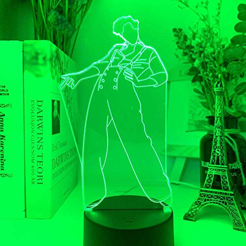 Luces LED luz de noche 3D Harry Styles regalo de ventilador dormitorio decoración luz LED sensor táctil que cambia de color lámpara de escritorio de trabajo Harry Styles regalos para hombres