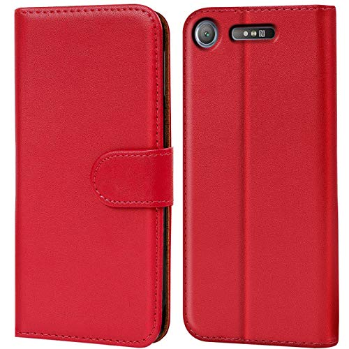 Verco Xperia XZ1 Hülle, Handyhülle für Sony Xperia XZ1 Tasche PU Leder Flip Hülle Brieftasche - Rot