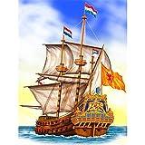 Kit de punto de cruz de barco de pintura de diamante bordado de diamantes paisaje barco de vela mosaico de diamantes de mar taladro cuadrado completo venta regalo A5 50x65cm