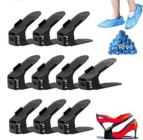 Nifogo Portascarpe Salvaspazio Regolabile Scarpiera, Organizer Scarpe Altezza a 3 Livelli Creativo Durevole Scarpiera Shoe Organizer Holder Rack(P-10PCS)