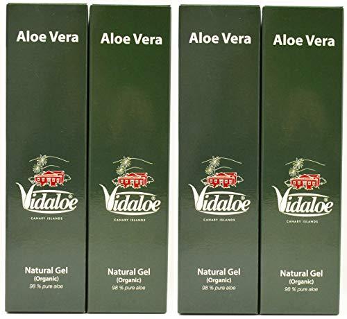 Vidaloe gel natural (orgánico) 98% aloe vera puro 250ml x 4 unidades