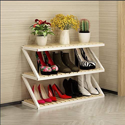 LJHA Étagère à chaussures solide bois stockage rack Hall armoire chaussure armoire salon maison chaussure rack multicouche simple ménage espace grande capacité rack à chaussures 80 * 26 * 52cm Meubles