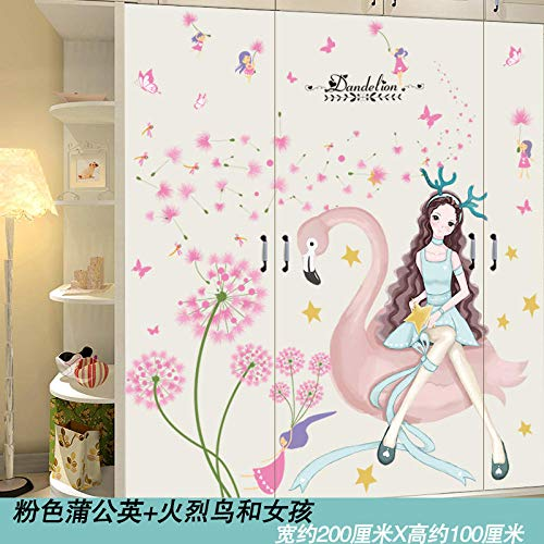 Cabinet stickers self-adhesive wardrobe stickers decorative glass door stickers bedroom room renovation wallpaper-3. Pink dandelion + flamingo and girl
