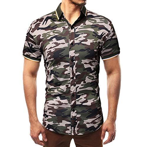 Polos Manga Corta Hombre Costura de Mezclilla Denim Camisas
