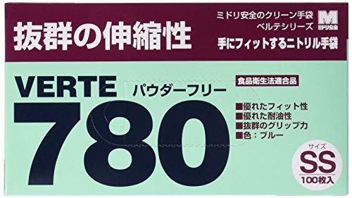 ミドリ安全 ベルテ ニトリル手袋 780N 粉なし ブルー SS 100枚×100枚