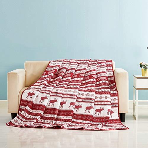 Qucover Tagesdecke Weihnachten 150x200cm für Einzelbett Bettüberwurf Sofaüberwurf mit Weihnachtsmotiv aus Baumwolle & Mikrofaser Gesteppte Decke 140x200cm für Kinder Weiß & Rot
