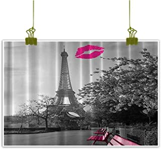 Sumilace Art Print/Poster Wall Art Painting, Eiffel Tower Paris Monochrome and French Kiss Romance Art Prints Canvas Wall Art - 23