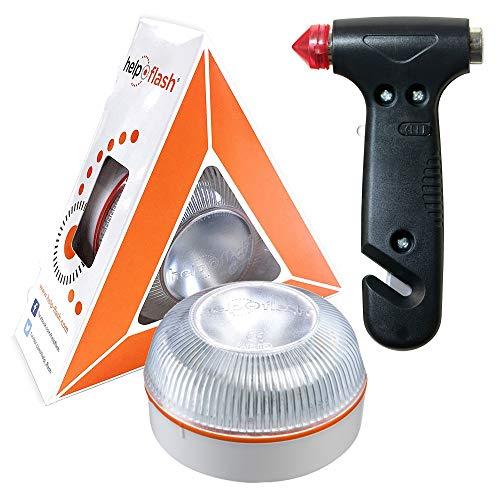HELP FLASH - luz de Emergencia AUTÓNOMA preseñalización Peligro y Linterna, homologada, DGT, V16, activación AUTOMÁTICA + Martillo de Emergencia rompeventanas y Cortador de cinturón de Seguridad