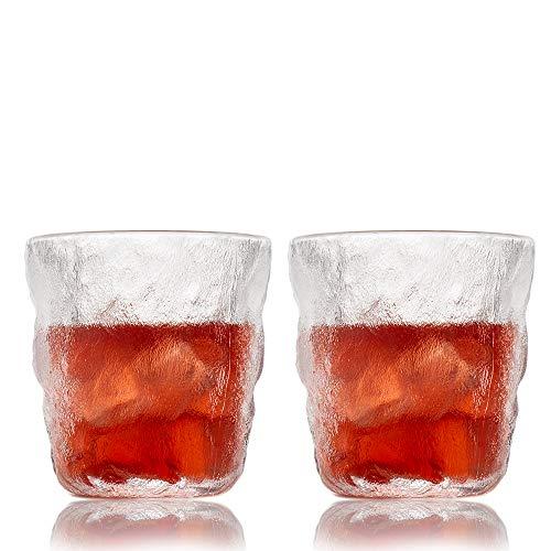 SkySnow® Vasos de Whisky, Juego de Vasos de Whisky, Vaso de Vidrio Transparente Sin Plomo, Vasos de Vaso únicos Perfectos para Batidoras de Ron Baileys Vodka Gin, Juego de 2