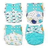 4 unids/set cubierta de pañal de tela para bebé, lavable, reutilizable, cubierta de pañal para recién nacido, tamaño ajustable, cómodo, suave, duradero, utilizado para bebés, familias, viajes(Azul)