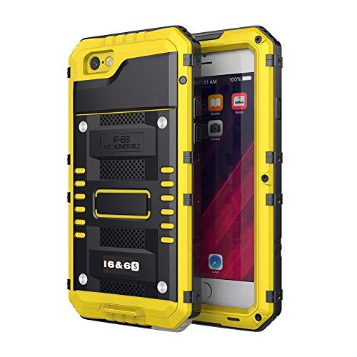 Beeasy Handy Case Kompatibel mit iPhone 6 / 6S Wasserdicht Handyhülle Outdoor Stoßfest Militärstandard Schutzhülle mit Displayschutz Robust Metall Bumper Schutz Stürzen Stößen Heavy Duty Hülle Gelb