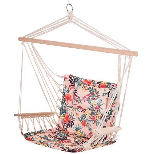 Outsunny Silla Colgante Estampado Floral Hamaca con Cojín Reposacabezas para Interior Exterior 100x106 cm Carga Máx. 105 kg