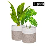 Cotton Rope Plant Baskets, Set of 2, Woven Storage Basket for Up to 10',Planter and Flower Pot, Washable Storage Organizer Basket, Modern Farmhouse Home Decor, 11'x 11'