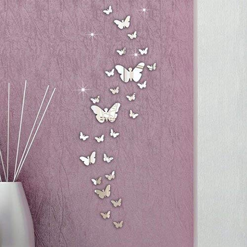 Ogquaton 30 stücke 3d spiegel schmetterlinge wandaufkleber diy selbstklebende wandbild kunst kreative moderne
