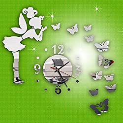 Mingbai Regulator Wall Clock, Modern Style Butterfly Fairy DIY Mirror Wall Clock Wall Sticker, Home Decoration, Bedroom Living Room Parlor Decoration, for Christmas Day and New Year-Silvery