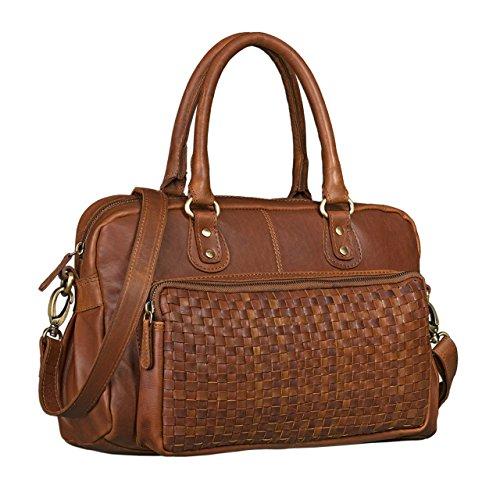 STILORD 'Elena' Vintage Handtasche Damen Umhängetasche geflochten Elegante Ledertasche Shopping Ausgehen weiches Leder, Farbe:Cognac - braun