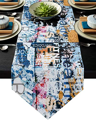 FLDONG Chemin de table, 33 x 228,6 cm, antidérapant en toile de jute, chemin de table pour fête, dîner, vacances, cuisine, décoration de table quotidienne, graffiti Street Art vintage