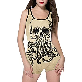 InterestPrint Women s Boy-Leg One Piece Swimsuit Backless Bathing Suit Skull with Octopus in A Tattoo Style XL