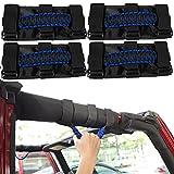 LAIKOU 4PCs Roll Bar Grab Handles Grip Handle Interior Accessories for 1987-2021 Jeep Wrangler YJ TJ JK JKU JL JLU & Gladiator JT (Blue)