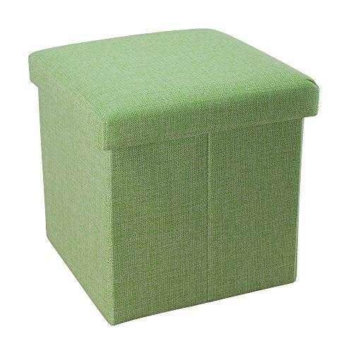 Intirilife Faltbarer Sitzhocker 38x38x38 cm in FRÜHLINGS GRÜN - Sitzwürfel mit Stauraum und Deckel aus Stoff in Leinen Optik - Sitzcube Fußablage Aufbewahrungsbox Truhe Sitzbank