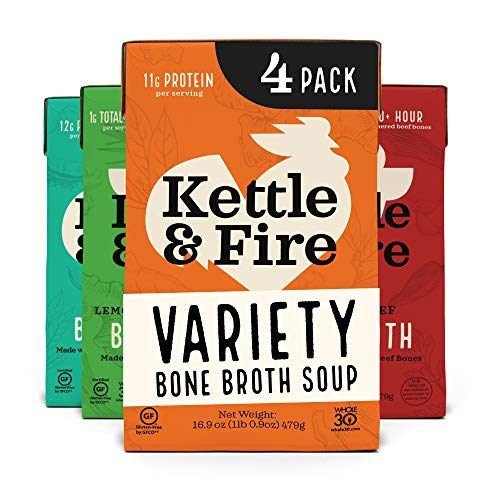 Kettle and Fire Beef and Chicken Beef Bone Broth Variety Pack, Keto, Paleo, and Whole 30 Approved, Gluten Free, High in Protein and Collagen, 4 Pack