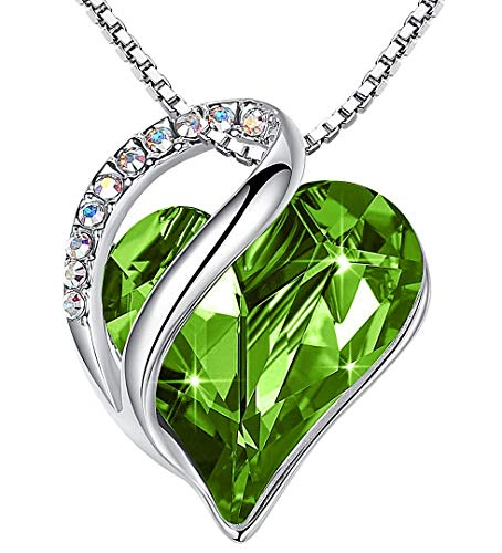 Leafael Infinity Love Heart Pendant Necklace Peridot Green August Birthstone Crystal Jewelry Gifts for Women SilverTone 18quot2quot