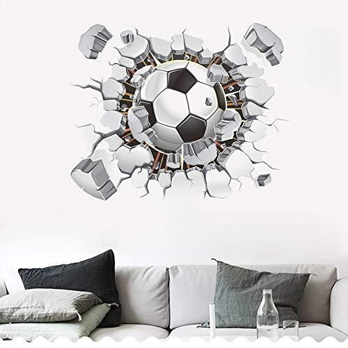SITAKE Pegatinas de fútbol 3D, pegatinas de pared de fútbol para dormitorios para niños, 3D, pegatinas de vinilo para dormitorio de niños, sala de juegos, sala de estar, 50 x 63 cm