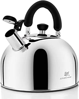 Stainless Steel Whistling Tea Kettle Tea Pot, Tea Kettles Stovetop 4.3Qt Large Capacity, Capsule Base Tea Pots for Stove Top (Silver Tone) by Ecpurchase