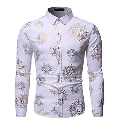 Auifor mannen nieuwe manier gestempeld shirt met lange mouwen bedrukt met lange mouwen
