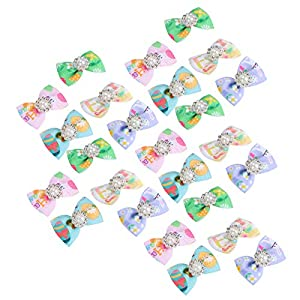 YOUTHINK Puppy Dog Hair Bows 25pcs Small Bowknot with Rubber Bands, Cat Hair Accessories Pet Grooming Products