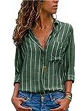AitosuLa Bluse Gestreift Damen Hemd Oberteile V-Ausschnitt Lose Casual Chiffon Langarm T-Shirt Top Tunika Elegant Langarmshirt Streifen Grün Weiß M