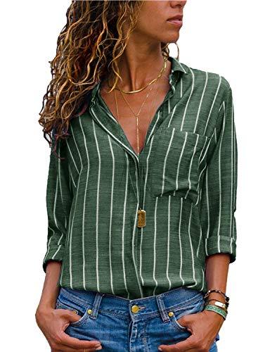 AitosuLa Bluse Gestreift Damen Hemd Oberteile V-Ausschnitt Lose Casual Chiffon Langarm T-Shirt Top Tunika Elegant Langarmshirt Streifen Grün Weiß S