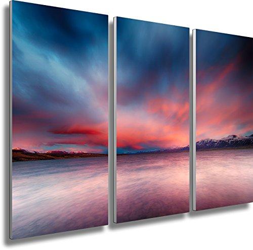 Fotoatelier Dirk Haas WTD Mantiburi Impression sur toile 3 pièces Motif paysage Islande Fjord Mer Zen Coucher de soleil 120 x 80 cm Format XXL