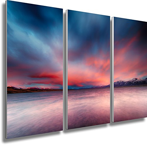 Fotoatelier Dirk Haas Tableau triptyque XXL – Paysage – Island – Fjord – Meer – Zen – Coucher de Soleil – Toile en 3 pièces (Toile de Lin) Dimensions : 120 x 80 cm