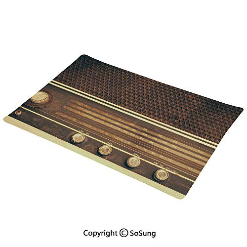 SoSung Vintage Decor Placemats Set of 6,Old Antique Retro 60s Radio Music Player Loudspeakers Buttons Image Washable Fabric Place mats Table Mats, 12x18 inch,for Home Kitchen Office,Brown and White