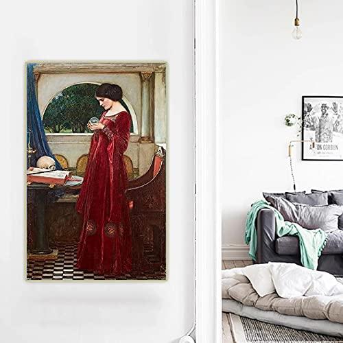 William Waterhouse 《La Bola De Cristal》 Lienzo Pintura Al óLeo Obra De...