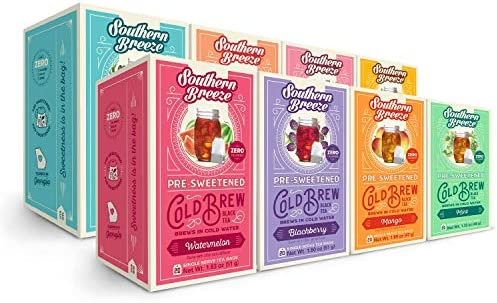 Southern Breeze Cold Brew Tea Variety Pack Sweet Tea with Zero Calorie 20 Count 160 tea bags product image