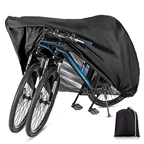 Bbuyagain Bike Covers for 2 or 3 Bikes, XL XXL Bike Covers Outdoor Storage Waterproof Oxford Fabric Rain Sun UV Dust Wind Proof for Mountain Road - Cover for Bicycle