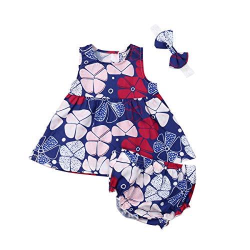 Newborn Baby Toddler Girls Geometric Print Summer Clothes Set Sleeveless Dress Shorts Headband 3Pcs Outfits (Multicolor, 6-12Months)