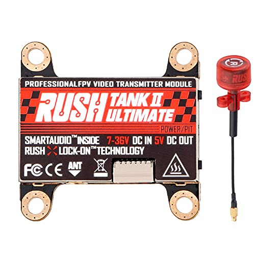 FPV Transmitter Rush Tank II Ultimate 5.8G 48CH Raceband PIT/25/200/500/800mW Switchable 2-8S VTX FPV Video Transmitter with Rush Cherry Antenna for RC FPV Racing Freestyle Nazgul5 Tyro129