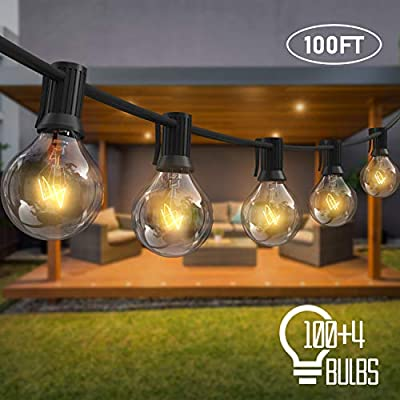AVANLO 100Ft G40 String Lights with 100 Globe Clear Bulbs & 4 Spare Bulbs Waterproof IP44 Patio Hanging Lights for Indoor & Outdoor Decor UL Listed Maximum 100 Bulbs Extend