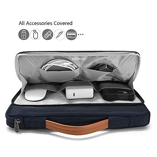 tomtoc Laptop Aktentasche Hülle kompatibel mit 12,3 Zoll Surface Pro, Neu MacBook Air 13 Zoll Retina A1932, Neu MacBook Pro 13 Zoll A2159 A1989 A1706 A1708, Dell XPS 13 Tasche Tragetasche Dunkel Blau - 3