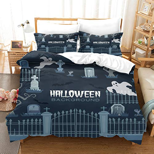 DSUTTM Bedding Duvet Cover Set Super King 3 Pieces Halloween theme pattern Printed Bedding Quilt Cover with Zipper Closure Ultra Soft Microfiber Quilt Cover Sets with 2 Pillowcases 50x75cm