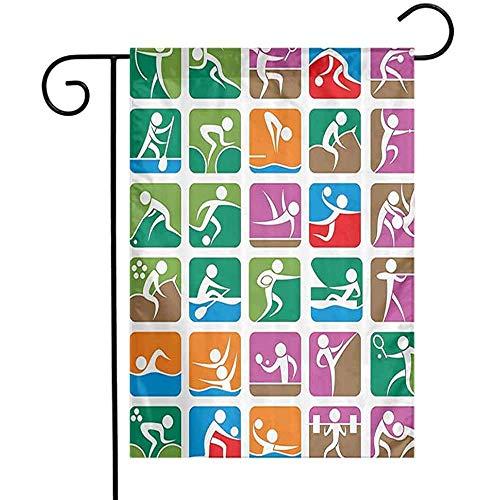 KL Decor Olympische Spelen Decoraties Tuinvlag Pictogrammen van De Zomer Sport Zeilen Worstelen Boksen Hekwerk Gewichtheffen Decoratieve Vlaggen voor Tuinwerf Gazon Groen Paars